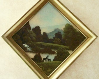 Vintage Painting Woodland Scene Nature Landscape Painting on Glass Deer Painting Library Den Camp Cottage Wall Decor Peaceful Nature Scene