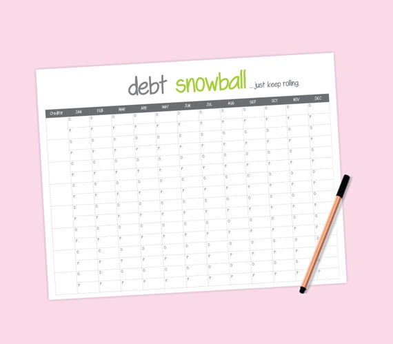 debt snowball worksheet by MarieReneeCreations on Etsy