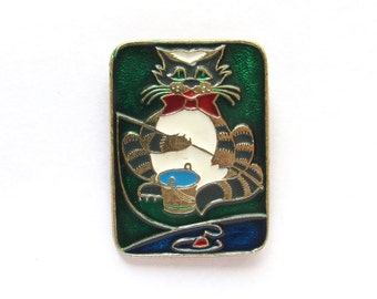 Cat fisherman,  Children's badge, Animal, Fauna, Vintage collectible badge, Soviet Vintage Pin, Soviet Union, Made in USSR, 1980s