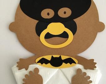 African American Baby Superhero Bat Man Baby Shower Napkins Baby Shower Decor Superhero Theme Baby Shower