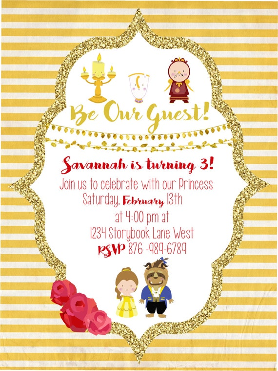Beauty and the beast party invitation for Beauty and the beast wedding invitation template free