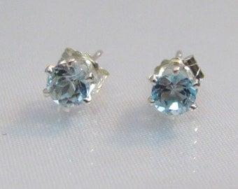 Aquamarine Post Earrings in Sterling Silver, 4mm Aquamarine Gemstone, Aquamarine Jewelry, March Birthstone, Aquamarine Stud Earrings