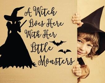 Halloween Decal, Halloween, Halloween Wall Decal, Witch Decal, Witch Wall Decal, Halloween Party, Halloween Decor, Little Monster Decal, Bat