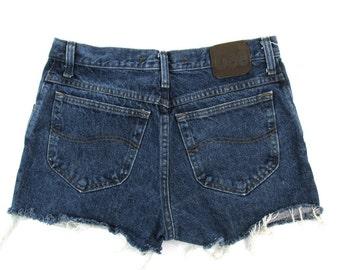 90s Lee High Waist Denim Shorts size 31 - 90s Lee Denim Shorts size 31 - Dark Wash 90s Denim Shorts