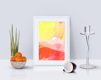 Downloadable, printable picture - Sunset, sunset, watercolors, watercolors, rojoz, reddish, landscape, mountain, sunset, mountains