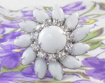 Vintage Repurposed Big Milk Glass Rhinestone Flower Ring Dramatic White Flower Ring Vintage 40's White Flower Ring Dramatic Statement Ring