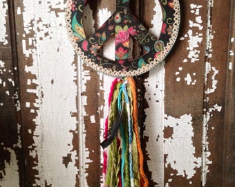 Peace Sign Dreamcatcher Handmade with Decoupaged Paper, Yarn and Feathers