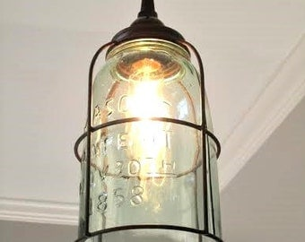 Rustic Half Gallon Caged Mason Jar Pendant Light - farmhouse, unique, industrial, lighting, pendant light, kitchen light