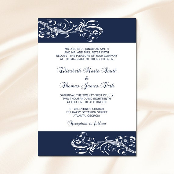 Navy Blue Wedding Invitation Template Diy Elegant Modern