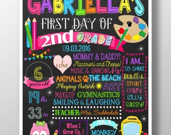 1st day of school sign, girls first day of school poster layout, first day of kindergarten, colorful 1st day of school sign BRDSCH01