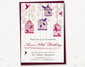 Teen Girl Geburtstag Einladung, Frau Geburtstag Einladung, Vogel Einladung  13. Geburtstag