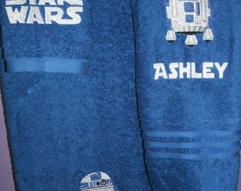 Star Wars Personalized Star Wars R2D2 3 piece Bath, Hand, Washcloth Towel Set
