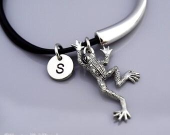 Frog bangle, Frog bracelet, Frog charm jewelry, Silver frog charm, Leather bracelet, Leather bangle, Initial bracelet, Personalized bracelet