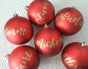 Personalized CHRISTMAS ORNAMENTS Hand Lettered calligraphy - One (name only)