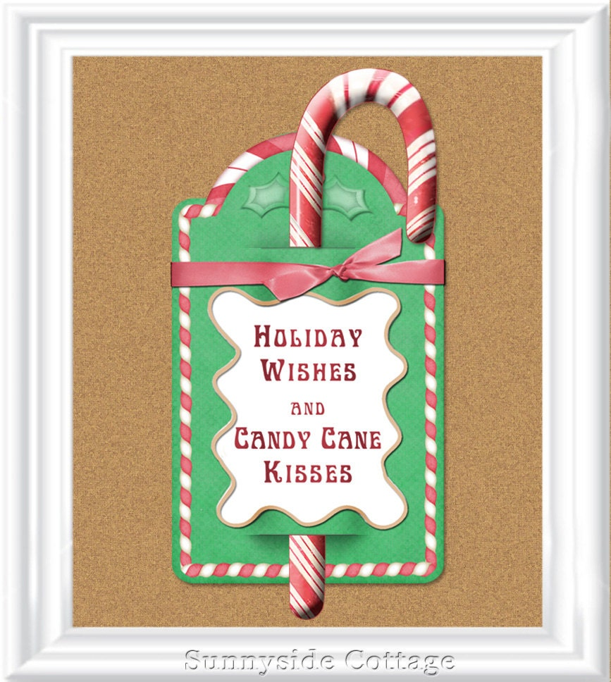 Candy Cane Kisses Printable Tag Candy Cane Gift Christmas