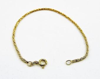 """14k Gold Square Link Rope Bracelet 7 1/4"""""""