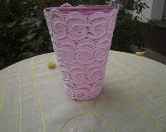 rose glasvase,homedecor,white lace,romantic,unikat  from himmeldurchnadeloehr