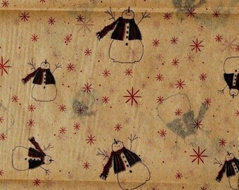Primitive Christmas Tissue Paper / Gift Wrap #815 - Snowman - on Kraft Tan