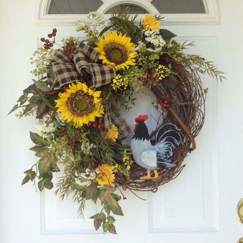 Summer Wreath French Country Wreath Sunflower Wreath Spring