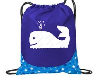 Drawstring Bags, Beach Bag, Drawstring Backpack, Gift for Kids, Summer Backpacks, Beach Tote Bags, Kids Gifts, Cinch Bags, Whale Design
