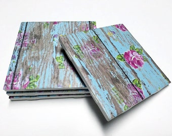 Floral Blue Coasters - Floral Decor - Drink Coasters - Flower Decor - Tile Coasters - Ceramic Coasters - Table Coasters