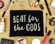 Beat for the Gods - RuPaul's Drag Race - Black and Gold - Makeup Bag / Cosmetic Organiser / Zipper Pouch