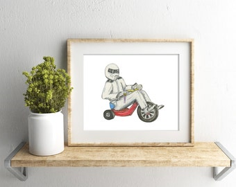 Stig Top Gear Wall Art - Vintage Big Wheel Watercolor - Top Gear Art - Original Art Print