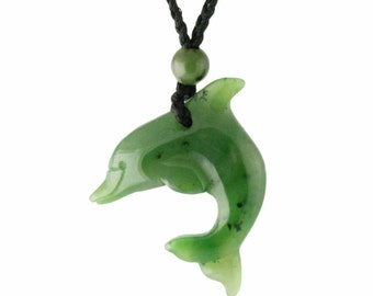 Canadian Nephrite Jade Pendant, Dolphin 0343- 10% off
