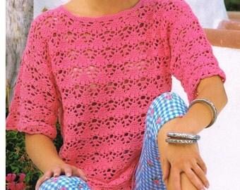 CROCHET TOP PATTERN Vintage 70s Crochet sweater pattern crochet summer top pattern crochet blouse pattern crochet tunic pattern