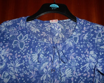 Cute Vintage Retro Blue Purple Light Pink Floral Print Blouse Shirt By St Michael UK Size 14 16