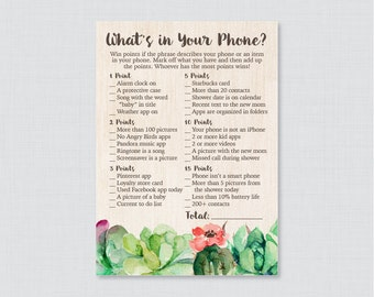 Succulent Baby Shower What's in Your Phone Game - Printable Phone Raid Game - Green What's in Your Phone Game -  Rustic Shower Game 0061
