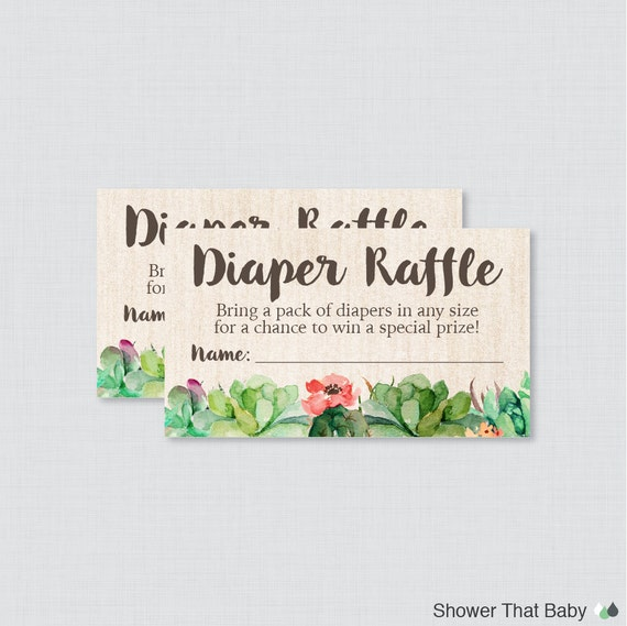 succulent baby shower diaper raffle tickets and diaper raffle