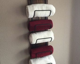 Wood Towel  Rack, Rustic Towel Rack, Bathroom Towel Rack