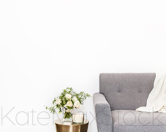 Gold, White and Grey Styled Interior with Mid-Century Chair / Styled Stock Photography / Product Mockup / KateMaxStock High Res File #853