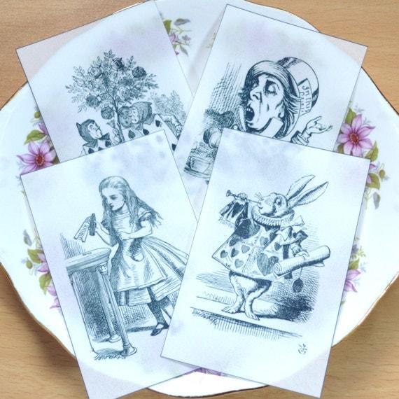 Edible Cake Decorations Alice In Wonderland : Edible Alice in Wonderland Set 1 Illustrations x4 Black ...