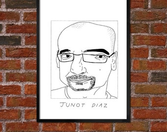 Badly Drawn Junot Diaz - Literary Poster - *** BUY 4, GET A 5th FREE***