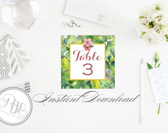 """Tropical Table Number Template-Instant Download PDF DIY Editable Text Only- Hawaiian Tropical Pink Hibiscus DIY Printable - """"Lucinda"""""""
