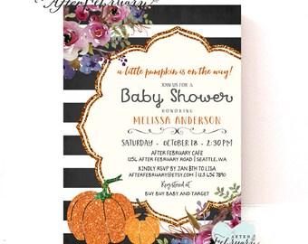 Pumpkin Baby Shower Invitation Fall Baby Shower Invitation Halloween Baby Shower Invitations // Printable OR Printed No.1201BABY