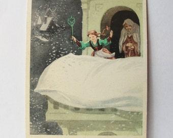 mother hulda german fairy tale vintage soviet postcard illustrator minaev 1964
