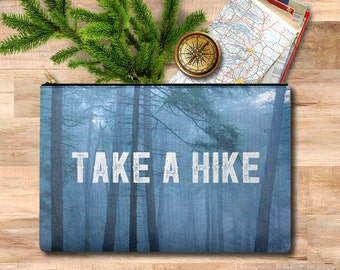 travel gift, zipper pouch, travel case, hiker, travel men, gift for her, case, makeup bag, pencil case, clutch, traveler, pacific north