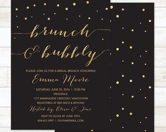 bridal brunch and bubbly invitation, black and gold bridal brunch invitation, brunch invitation, bridal shower invitation