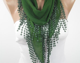 Soft Cotton Scarf Green Scarf Spring Fashion Scarf Summer Scarf Laced Scarf Gift For Her Women Fashion Accessories Mothers Day Gift For Mom