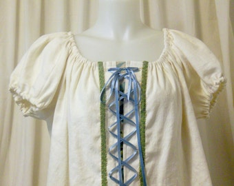 Ivory Linen, Short Sleeve, Front Faux-Lacing, Pirate, Peasant Blouse, Size M