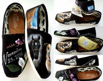 Black Wedding Shoes, Pet Wedding Flats, Bride's Love Story shoes, Wedding TOMS, Unique Wedding Shoes, Painted Black Shoes, Wedding TOMS