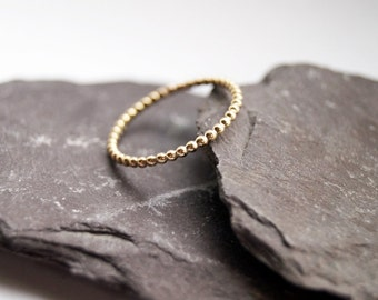 Beaded Band Gold Filled 12K Stacking Ring ~ statement ring, elegant, modern, gold ring, beaded, pearl, bubble, bobble, stacking, stackable