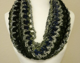 Long Lacy Crochet Cowl in Blue and Green