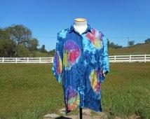 80's Vintage Silky Tie Dye Short Sleeve Button Down Shirt (Unisex Adults-Size Medium)