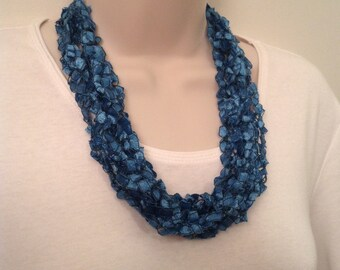 Sale!  Teal Green Crocheted Ladder Yarn Necklace
