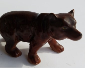 Ceramic or Porcelain Brown Bear Figurine Made in Japan