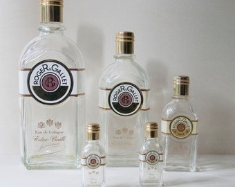Roger & Gallet perfume empty bottles collection Paris, home decor, bath decor